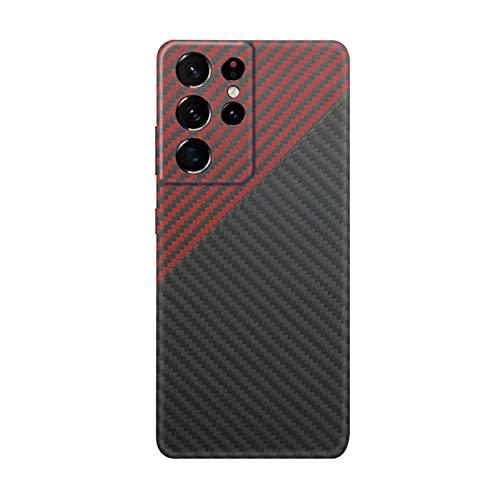 qichenlu [Kugelsicher Aramidfaser Schwarz&Rot Aramid Hülle für S21 Ultra,Militärstandard Stoßfest Extrem Dünn Cover Case Hartschale für Samsung Galaxy S21 Ultra