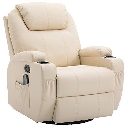 HOMCOM Fauteuil de Relaxation massant Chauffant et Vibrant inclinable pivotant à 360° revêtement synthétique 84L x 94l x 109Hcm Beige
