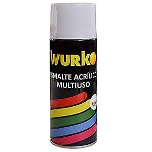 Wurko - Spray Pintura Esmalte Acrílica Blanco Mate, Bote 400 ml