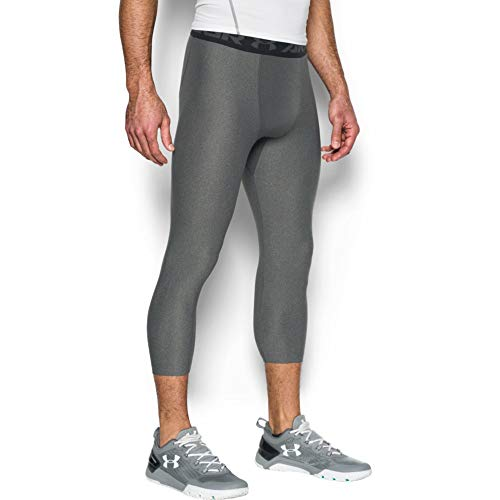 Under Armour HG Armour 2.0 3/4 Legging, Pantaloni a Compressione Uomo, Grigio (Carbon Heather/Black), XL