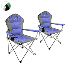 Divero Deluxe Folding Chair 2 Set Armrest Blue Grey Beverage Holder Draagtas 90x62x108 cm tot 130 kg 600D Oxford Coating Camping Chair Fishing Chair Steel Frame 19mm Extra Wide Padded*