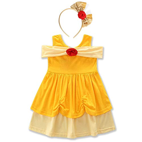 Girls Princess Little Mermaid Snow White Dress Belle Party Ariel Kids Cosplay Birthday Party Cartoon Outfit Sleeveless Baby Yellow Dress up Playwear Clothes #Belle Yellow & Headband 5