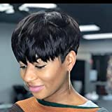 Enjeein Pixie Cut Wigs Short Human Hair Wigs Short Pixie Wigs Natural Looking Boy Cut Wigs With Bangs For Women Black Color