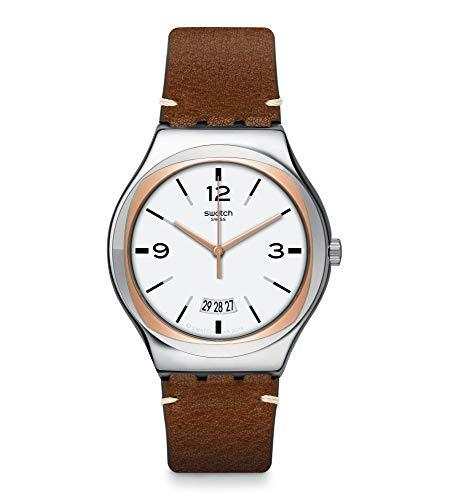 Relógio masculino Swatch de quartzo de aço inoxidável com pulseira de couro, marrom, 20 (modelo: YWS443)
