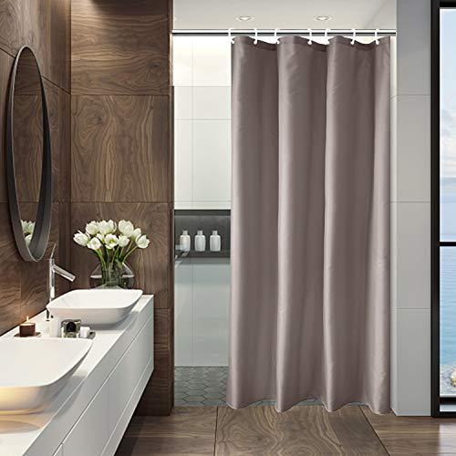 AooHome Duschvorhang, 91,4 x 182,9 cm, halbe Größe, solider Duschvorhang mit Haken, beschwerter Saum, wasserdicht, Schokoladenbraun
