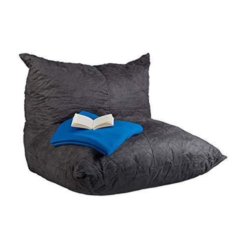 Relaxdays Sitzsack XXL, Bodenkissen mit Lehne, Velour-Optik, Füllung, für Erwachsene, Riesensitzkissen 535 l, Anthrazit