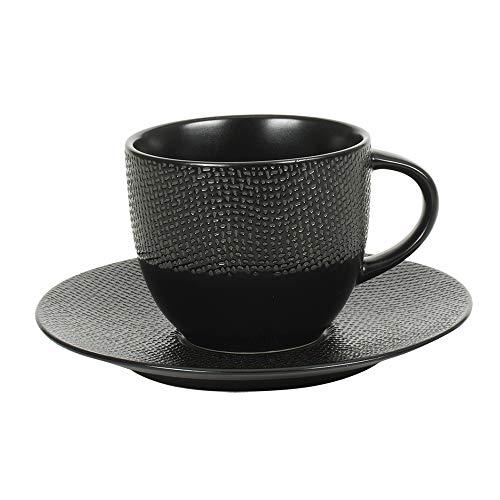 Tasse à thé 22 cl et sa soucoupe Vésuvio noir (Lot de 6)