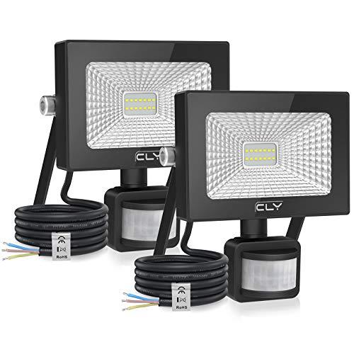10W * 2 CLY Faretto con Sensore di Movimento Luce di Sicurezza Impermeabile IP66, Faro LED Esterno con Sensore, 1000LM Bianco Freddo 6500K, Faretti LED per Giardino, Corridoio, Terrazza, Patio