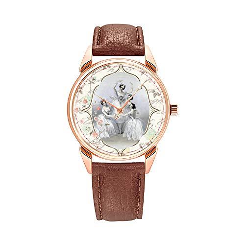 Reloj de Pulsera para Hombre, de Cuarzo, Resistente al Agua, Brillante, Color marrón, de Piel, Rosa, Vintage, Bailarina