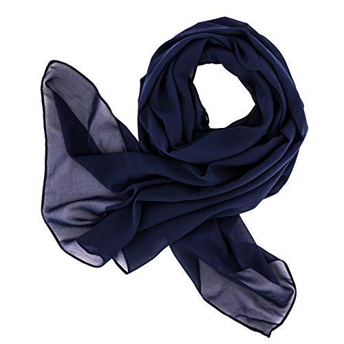 DOLCE ABBRACCIO by RiemTEX ® Schal Damen SWEET LOVE Stola Chiffon Tuch in 30 Unifarben Schals und Tücher Halstücher XXL Chiffontücher im dunklem Blau Halstuch für jede Jahreszeit (Dunkelblau)