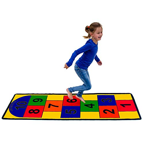 "Learning Carpets Hopscotch Play Carpet, 79"" by 26"" – Play the Classic Game Indoors or Outdoors – Durable Skid-Proof Backing – Soil and Stain Resistant – Bright and Colorful Hopscotch Board Carpet"