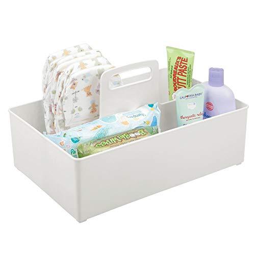 mDesign Cesta organizadora con 2 Compartimentos para artículos de bebé – Cesta con asa de plástico – Práctica Cesta Multiusos para cremas, termómetro, Juguetes, Alimentos, etc. – Gris Claro