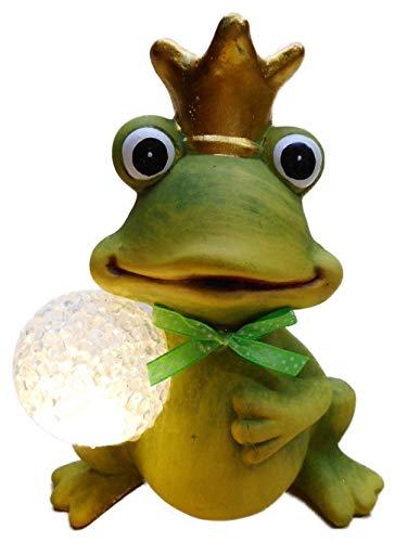 Otte sitzender Froschkönig mit Krone & LED Kugel 16 x 10 cm Quack Frosch Tier Figur Deko 8358 A