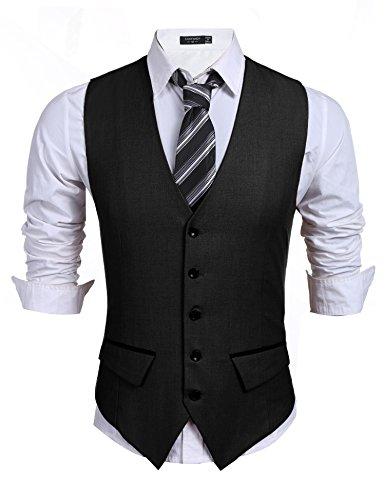 Burlady Herren Weste Anzugweste V-Ausschnitt Ärmellose Basic Slim fit Western Weste V Ausschnitt Elegent Anzug Business Hochzeit (B-schwarz, XL)