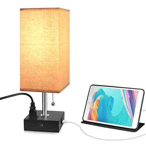USB Outlet Table Desk Lamp, USB Fast Charging Port Bedside Wooden Desk Nightstand Lamp for Bedroom,Living Room,Office