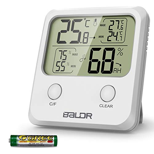 WisFox Termómetro Higrómetro Digital, Higrómetro Digital de Temperatura Interior con Monitor de Pantalla más Grande Temperatura y Humedad para el Hogar y la Oficina(Batería Incluida)
