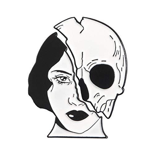 PCBDFQ Broche De Conjunto Punk Oscuro Negro Broche Bruja Magia Cráneo Botón...