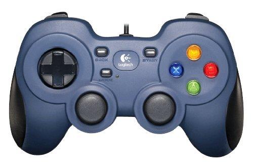 Logitech F310 Gamepad, Controller mit Konsolenartigem Layout, 4 Tasten D-Pad, XInput/DirectInput, Komfortable Griffflächen, 1,8 m Kabel, PC/Steam/AndroidTV - blau/grau, Englische Verpackung