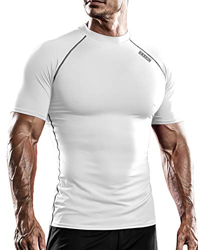 DRSKIN Men's Compression Cool Dry Sports Short Sleeve Shirt Baselayer T-Shirt Athletic Running Rashguard (SWH54, L)