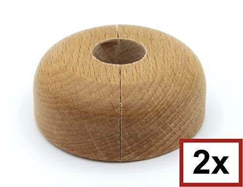 2 Stück Einzel-Rosetten für Heizungsrohre, Echtholz: Ahorn, Buche, Eiche, Abdeckung für Heizungsrohre, Heizkörper, Heizung, 15mm, 19mm, 22mm, Holz, Parkett, Holzrosette (15mm, Buche)