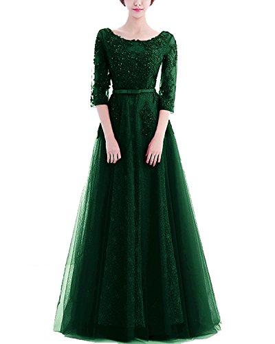 LuckyShe Damen Elegant Lang Spitze Tüll Abendkleider Ballkleid mit Ärmeln für Hochzeit