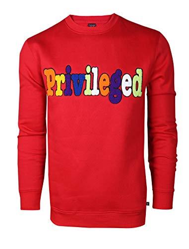 SCREENSHOTBRAND-F11976 Mens Urban Hip Hop Premium Fleece - Pullover Activewear Embroidery Fashion Crew Neack Sweatshirt-Solid/Red-Medium