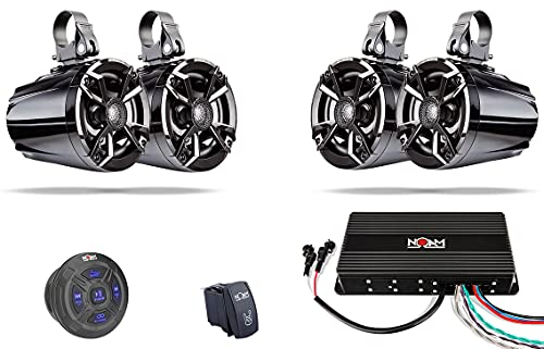 NOAM NUTV5 Quad - Marine ATV/Golf Cart/UTV Stereo System kit – Including 4 Waterproof Tower Speakers, Weatherproof Controller/Head Unit with Bluetooth and AUX Input and Four Channels Amplifier