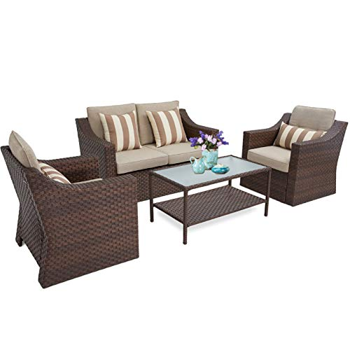 SUNCROWN 4 Piece Outdoor Patio Furniture Conversation Set Rattan Wicker Chairs and Glass Top Table All-Weather and Thick Cushion Covers(Light Brown)
