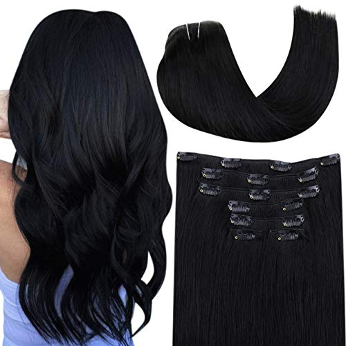 Hetto Haarverlängerungen mit Clips Haare Extensions Schwarz Full Head Clip Menschliches Haar Clip in Extensions Echthaar Naturlich Schwarz #1 18 Zoll 7pcs/100g