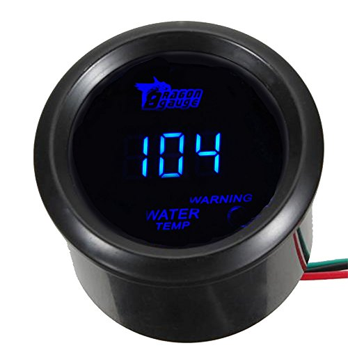 ESUPPORT Car 2' 52mm Digital Water Temp Gauge Blue LED Fahrenheit F