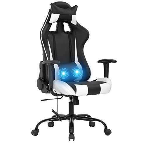 Gaming Chair Ergonomic Office Chair Massage Desk Chair Racing Style PU Leather Computer Chair Adjustable with Lumbar Support and Headrest Gamer Chair