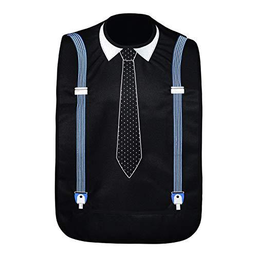 Modaliv Erwachsenen-Lätzchen für Männer – bestickter wasserdichter Kleidungsschutz mit Auffangbehälter – wiederverwendbar – maschinenwaschbar (Krawatte und Strapse)