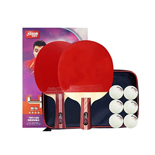 Great Deal! HUIJUNWENTI Table Tennis Racket 4 Star Set Pen-Hold/Horizontal Shot Double-Sided Anti-Ad...