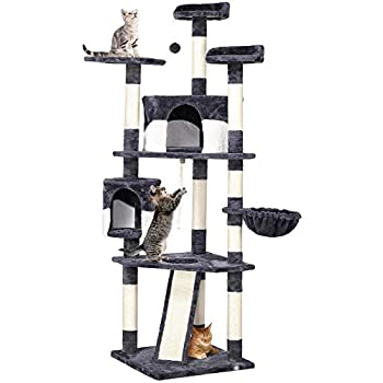 Yaheetech 79in Multi-Level Cat Trees with Sisal-Covered Scratching Posts Plush Perches and Condo for Kittens Cats and Pets - Gray and White