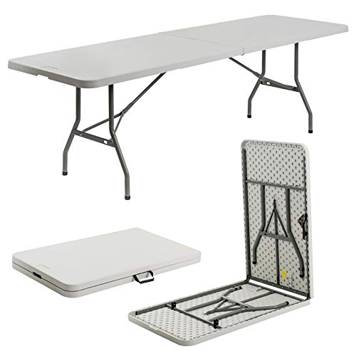 Harbour Housewares Heavy Duty Folding Trestle Table - Easy Store Office Desk Workstation Events Arts and Crafts Party Catering BBQ Garden - 8ft (244cm)