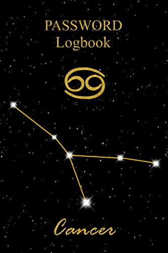 Notebook for Password Keeper - Constellation: Logbook Journal to Store, Protect and Organize Alphabetical Internet Web Url, Log, Username and ... Zodiacal Sign and Starry Sky with Gold Effect