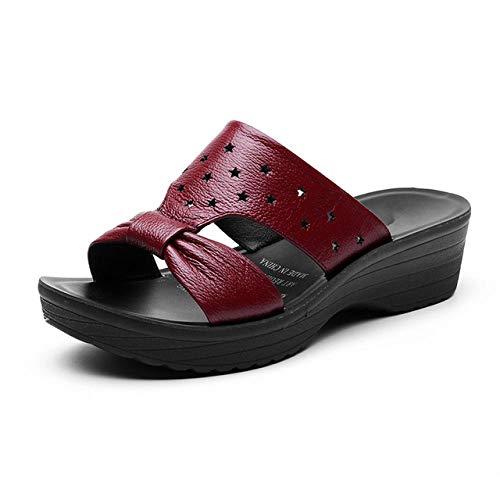Sandalias De Mujer, Zapatos Cómodos De Tacón Bajo Adecuados para Citas De Verano-Vino Tinto_5 5