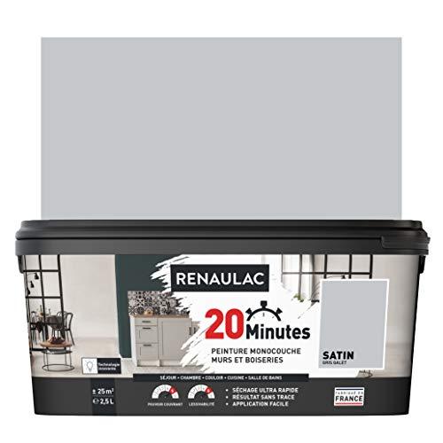 RENAULAC Peinture intérieur couleur monocouche 20 Minutes murs et boiseries - Gris galet Satin -...