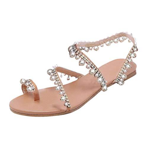 Damen Elegant Flache Schuhe Runde Kopf Schuhe Silber Perle Sandalen Strass Sandalen Sommer Flach Sandalen Frauen Bohemian Strand Schuhe