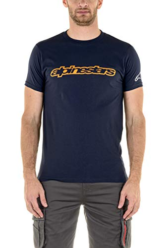 Alpinestars Wordmark T-Shirt Homme, Navy/Orange/Grey, Grand