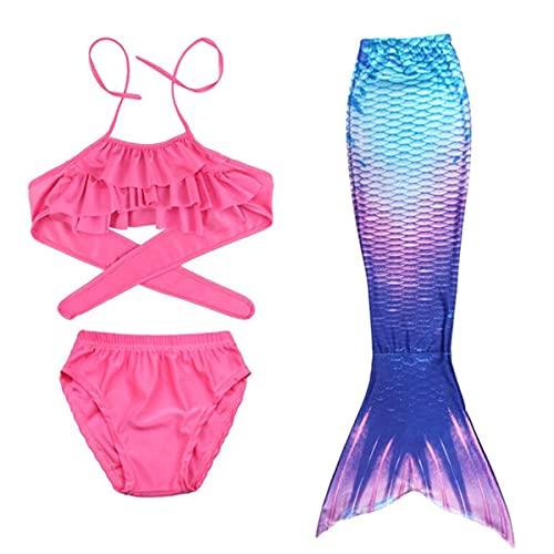 SUPERTRUST Conjunto de Bikini de Sirena para niñas, Traje De Baño De Diseño Cola De Sirena 3 Piezas (Rosado, 150CM)