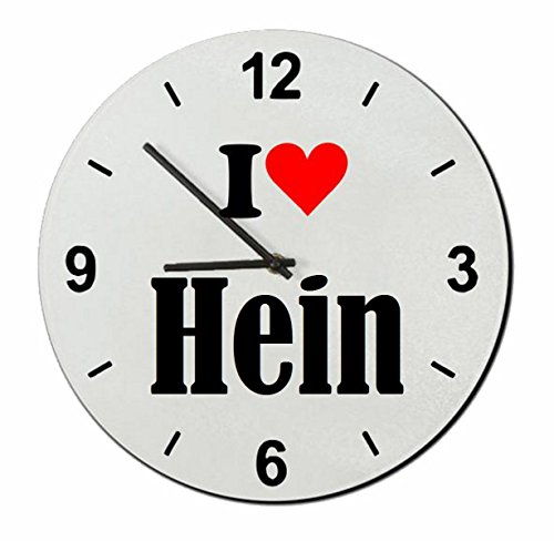 Druckerlebnis24 Glasuhr I Love Hein eine tolle Geschenkidee die von Herzen kommt| Wanduhr| Geschenktipp: Weihnachten Jahrestag Geburtstag Lieblingsmensch