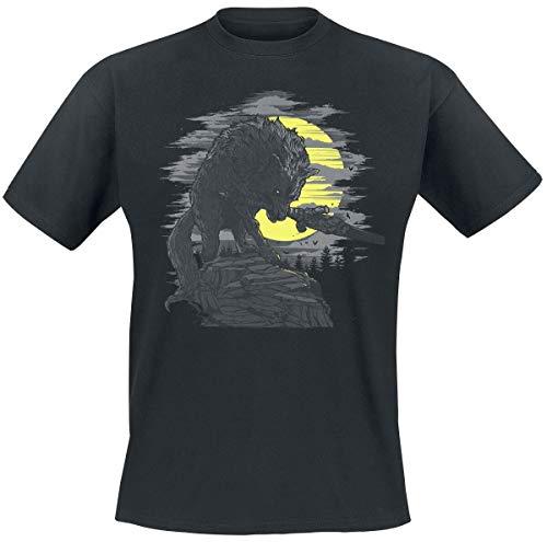 Dark Souls Great Grey Wolf Hombre Camiseta Negro XL, 100% algodón, Regular