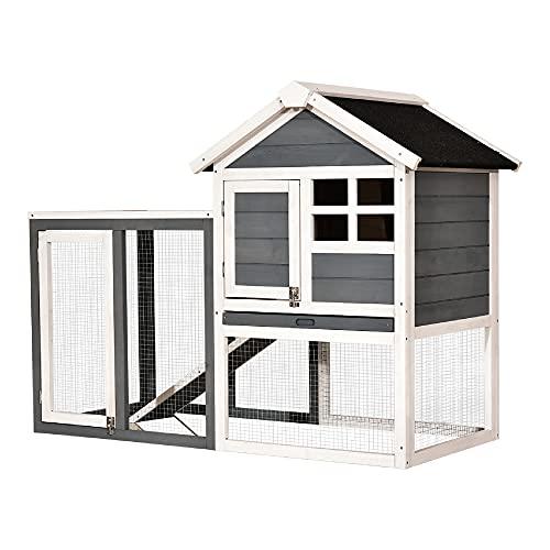 MCombo Hühnerstall Hühnerhaus mit Stange Rampe Auslauf Nistkasten 2020EY, aus Holz Wetterfest, 2 Etage, Grau/Braun, 122 x 53 x 92 cm (Grau)