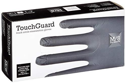 TouchGuard - Guantes de nitrilo negros desechables sin polvos ni látex, caja de 100 unidades, medianos