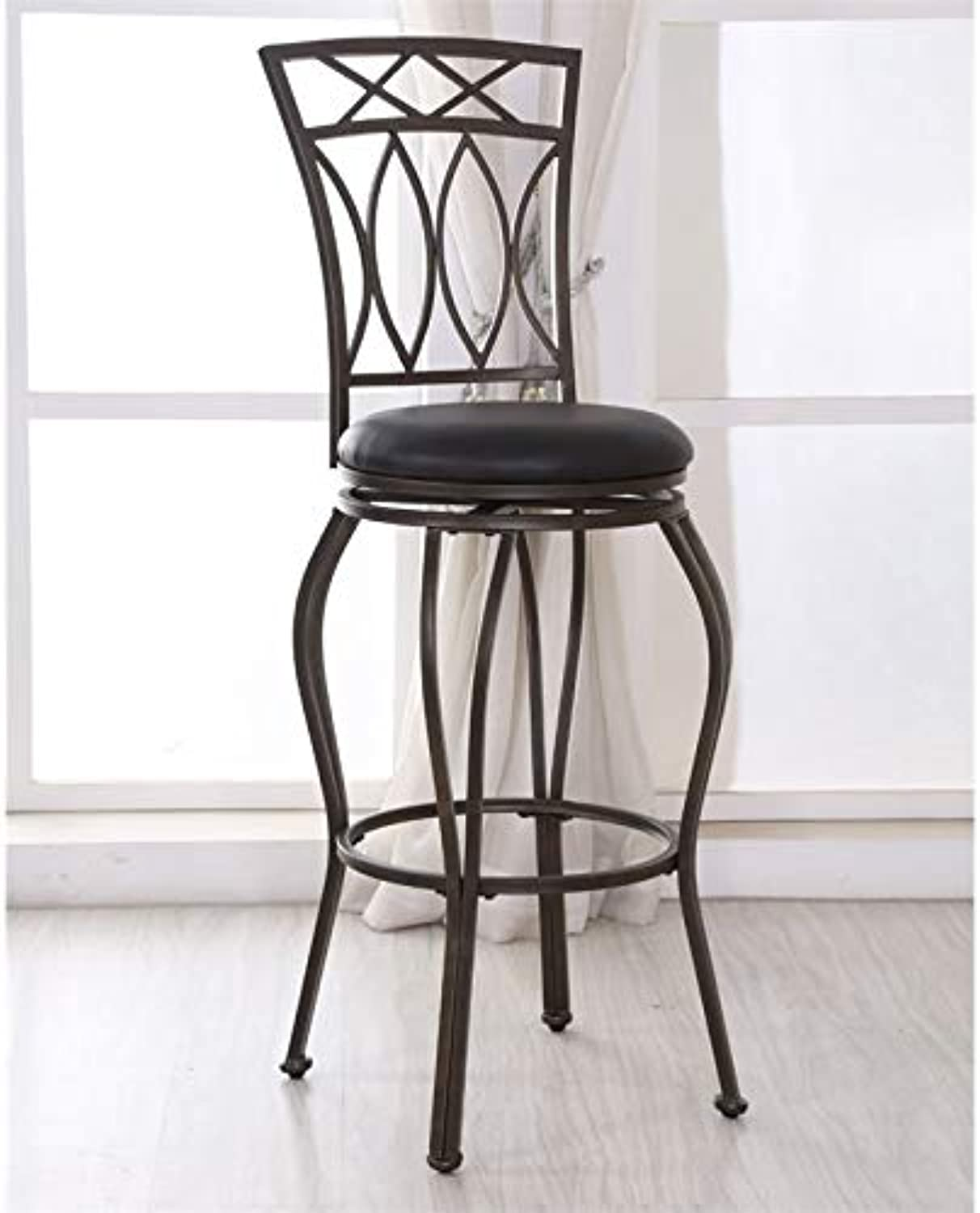 Pemberly Row Faux Leather Swivel Bar Stool in Black