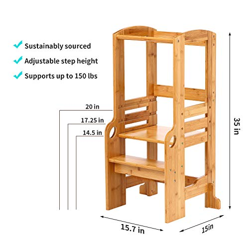 UNICOO- Bamboo Height Adjustable Kids Learning Stool, Kids Kitchen Step Stool, Toddlers Stool (Nature)