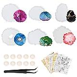Sooair Moldes de silicona de resina epoxi, juego de 6 posavasos de silicona, moldes de resina con 3 hojas de oro, pinzas y protección para los dedos, para resina Art ágata