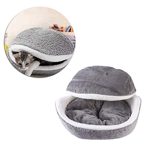 UEETEK Winter Warm Pet Puppy Cat Bed House Cushion Half Covered Bed Sleeping Bag Detachable Cute Hamburger Shape Bed