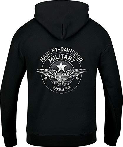Harley-Davidson Military - Felpa da uomo con cappuccio e teschio con zip nera - Tour d'oltremare | Cracked G - Nero - M